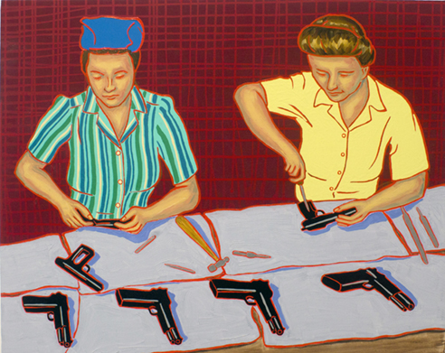 "The Ladies: Munitions Plant 4, 1940s,  2012  24"" x 30"" Oil, enamel & flashe on canvas"