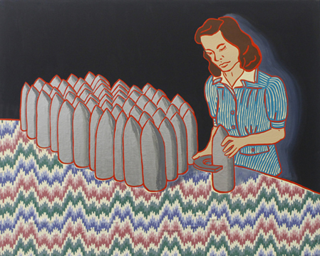 "The Ladies: Munitions Plant 2, 1940s,  2011  24"" x 30"" Oil, enamel, flashe, fabric on canvas"