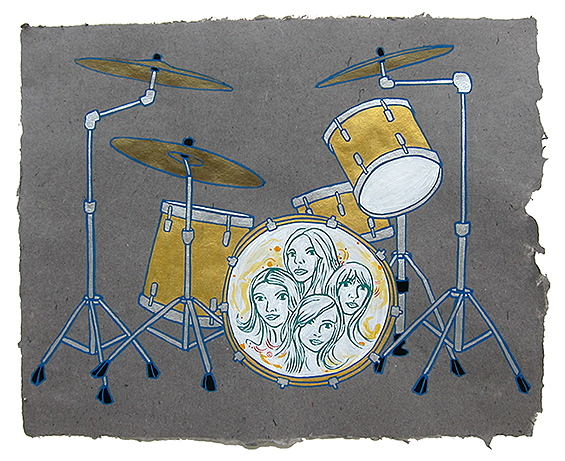 "Torry Castellano's Drum Kit,  2013  16"" x 20"" Flashe on paper"