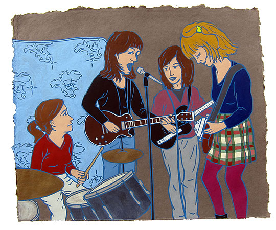 "The Raincoats,  2015  16"" x 20"" Flashe on paper"