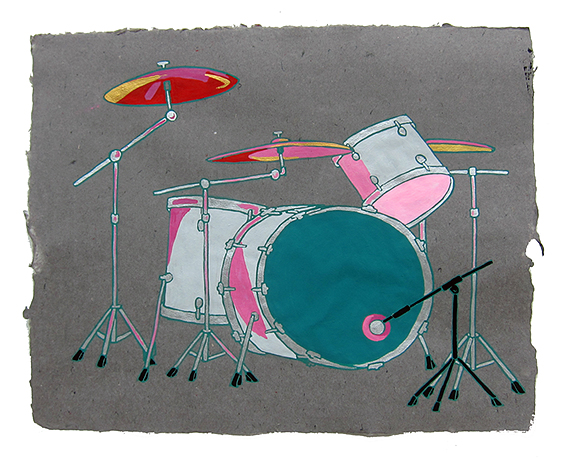 "Hole, Patty Schemel's drum kit,  2013  16"" x 20"" Flashe on paper"