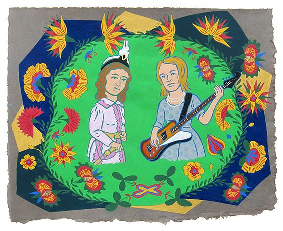 "Michurina Bergamasco & Ashley Lily,  2015  16"" x 20"" Flashe on paper"