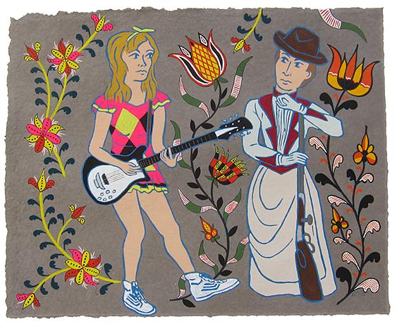 """Viv Albertine & Emma Protz,  2015  16"""" x 20"""" Flashe on paper"""