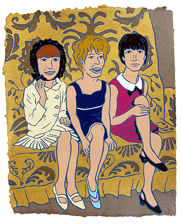 "Cilla Black, Petula Clark & Sandi Shaw,  2015  20"" x 16"" Flashe on paper"