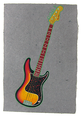 "Melissa auf Der Maur's bass,  2013  14"" x 9.5"" Flashe on paper"