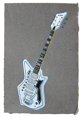 "PJ Harvey's guitar,  2013  14"" x 9.5"" Flashe on paper"
