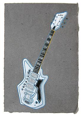 "PJ Harvey's guitar,  2013  14"" x 9.5"" Flashe on paper"