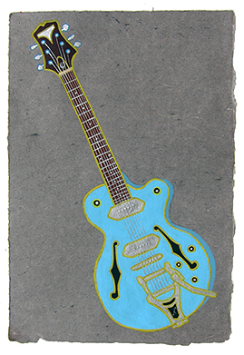 "Regina Spektor's guitar,  2013  14"" x 9.5"" Flashe on paper"