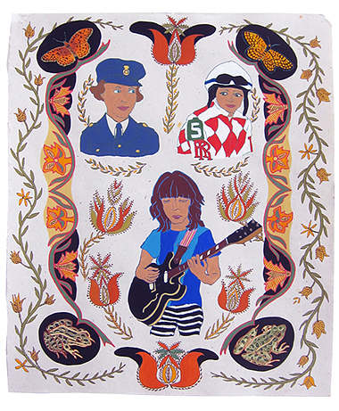 "Eleanor Friedberger, Rosie Napravnik & anonymous WW2 British Officer,  2013  20"" x 16"" Flashe on paper"