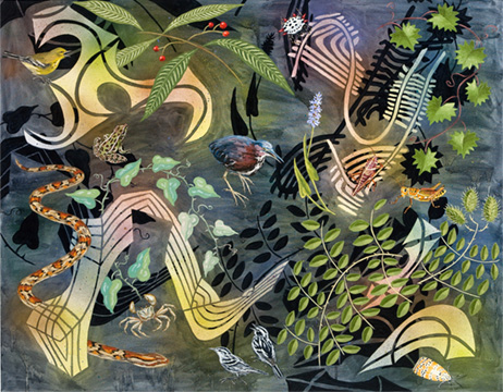 "Biome: Florida Everglades,  2010  40"" x 50"" Oil & spray paint on canvas"