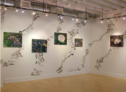 hush you mushrooms...,  2003  (October 18-November 22)   Wendy Cooper Gallery  Madison, WI  Wall painting/photography installation