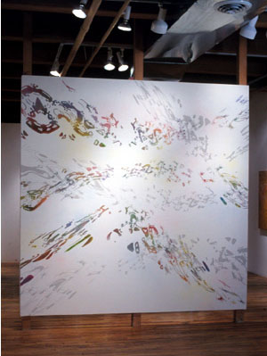 Spiders, insects and chairs.,  2003  Aaron Packer Gallery  Chicago, IL  8' x 8' Latex, spray paint and wall paper on wall