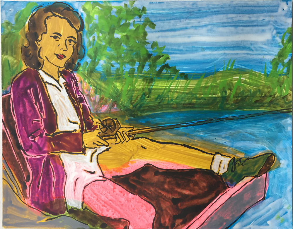 """Woman Fishing   9.5""""x12"""" ink on paper  2016"""
