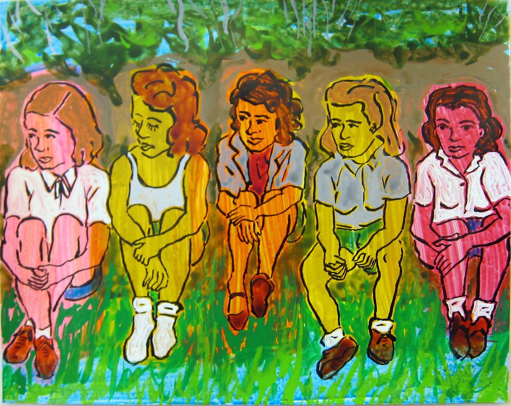"Five Women   9.5""x12"" ink on paper  2016"