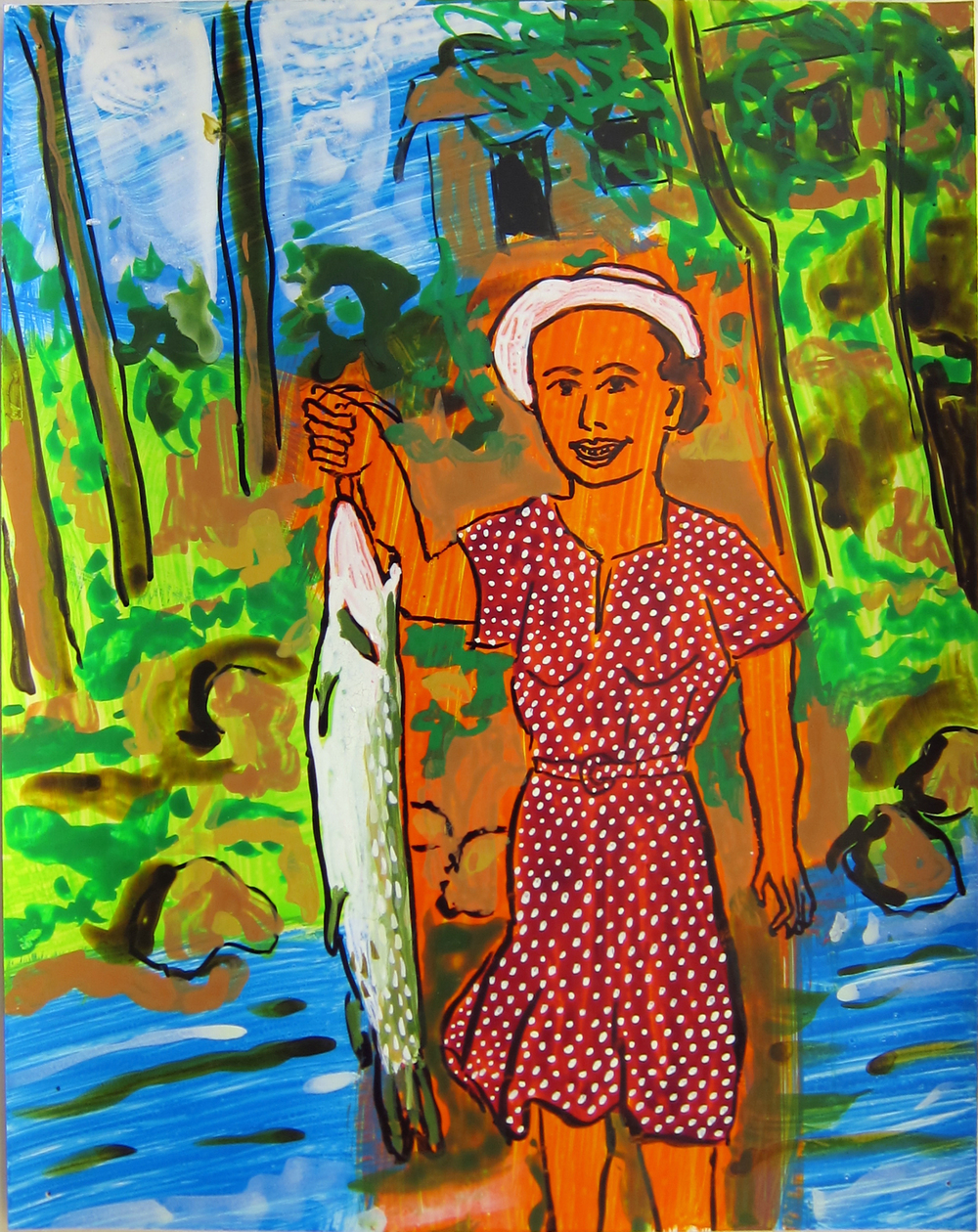 """Woman With Fish 2, 2016   12""""x9.5"""" ink on paper"""