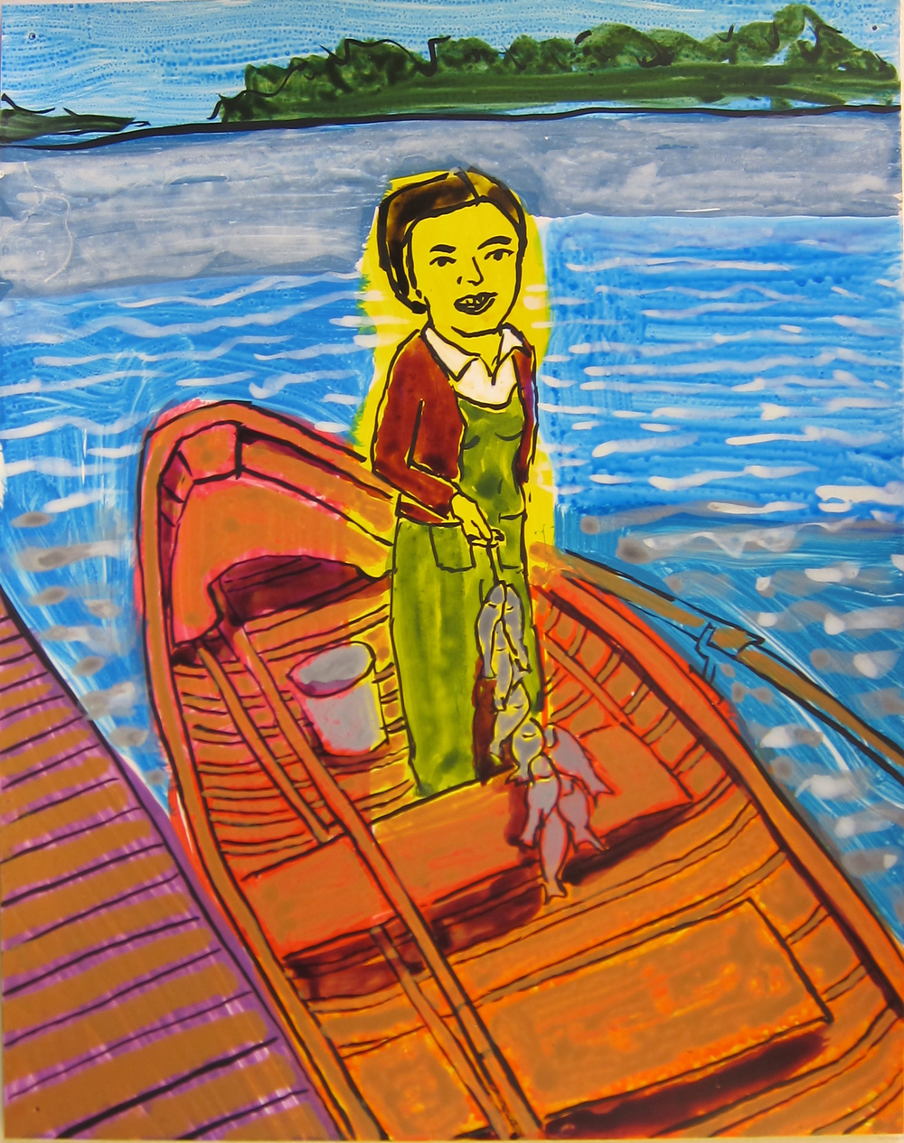 """Woman in Boat, 2016   12""""x9.5"""" ink on paper"""