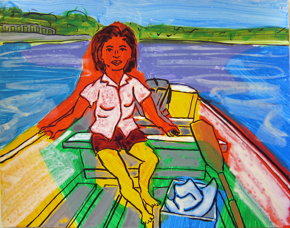 """Woman in Boat , 2016  9.5""""x12"""" ink on paper"""
