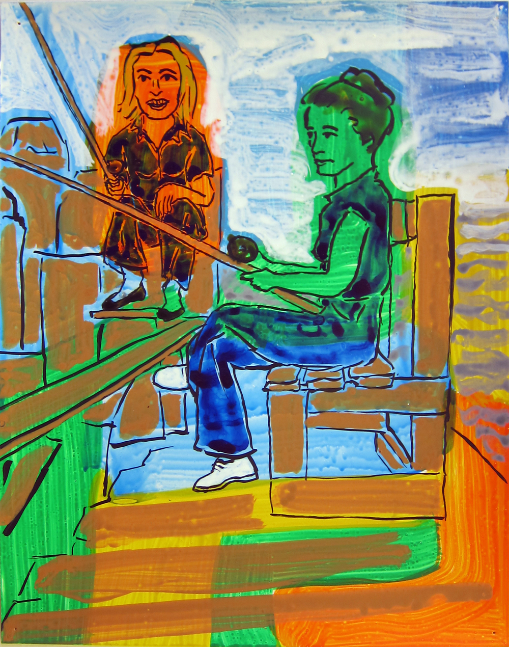 """Two Women Fishing , 2016  12""""x9.5"""" ink on paper"""