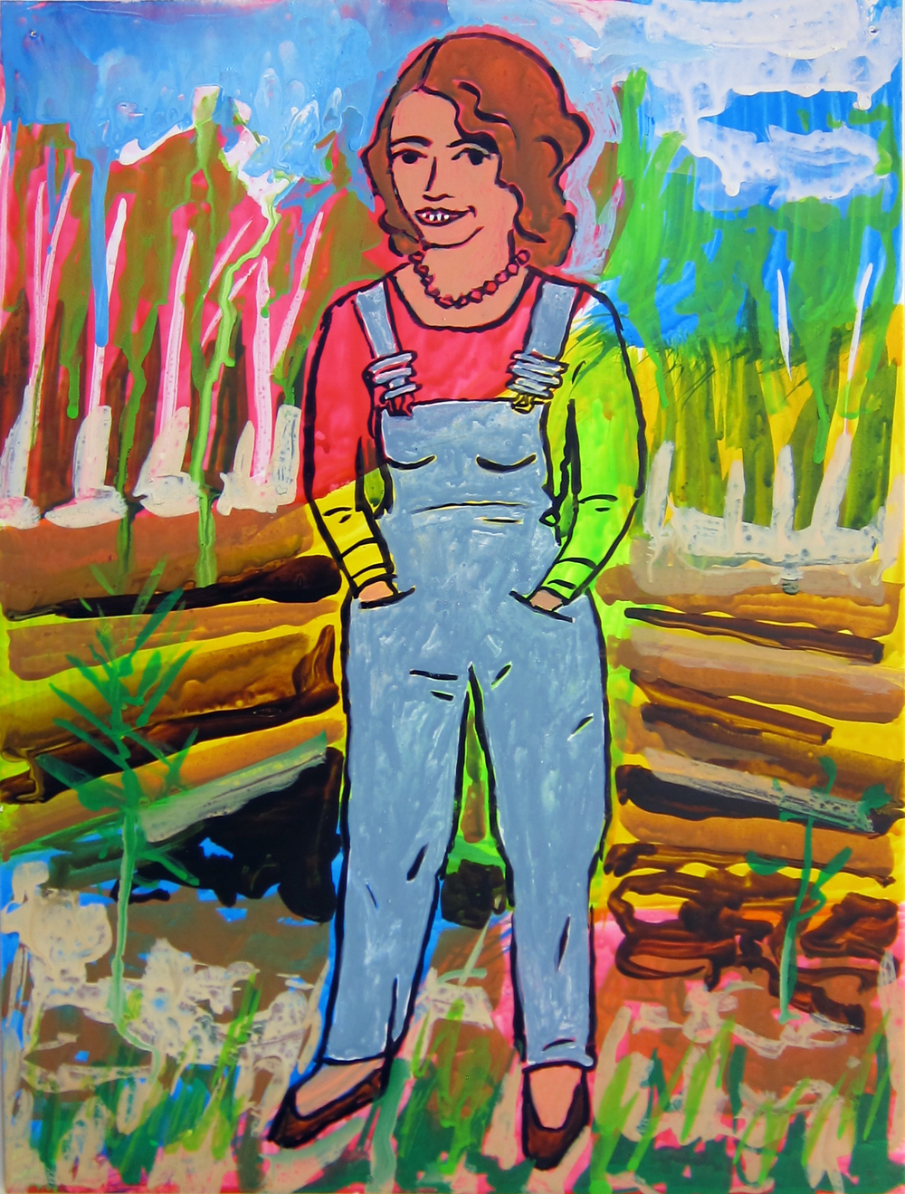"""Woman in Overalls , 2016  12""""x9.5"""" ink on paper"""