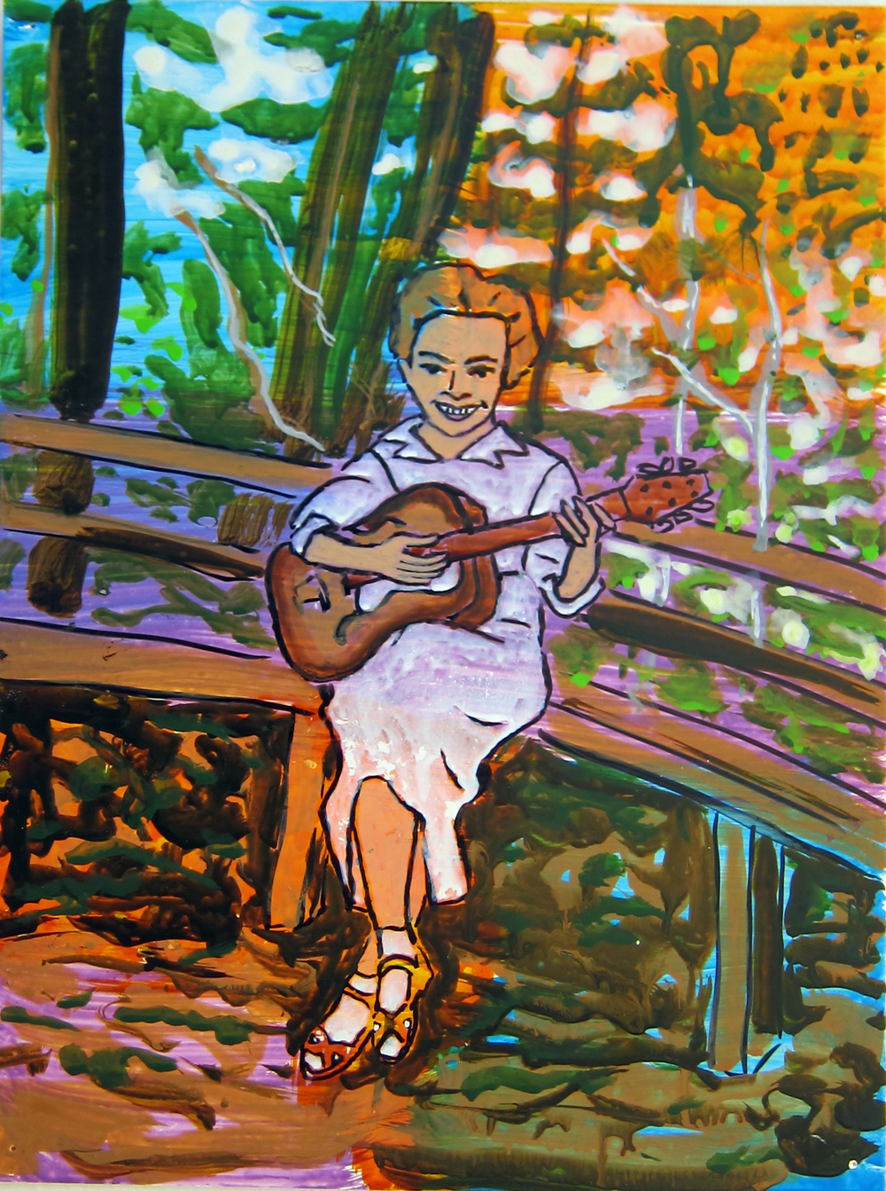 """Woman With Guitar , 2016  12""""x9.5"""" ink on paper"""