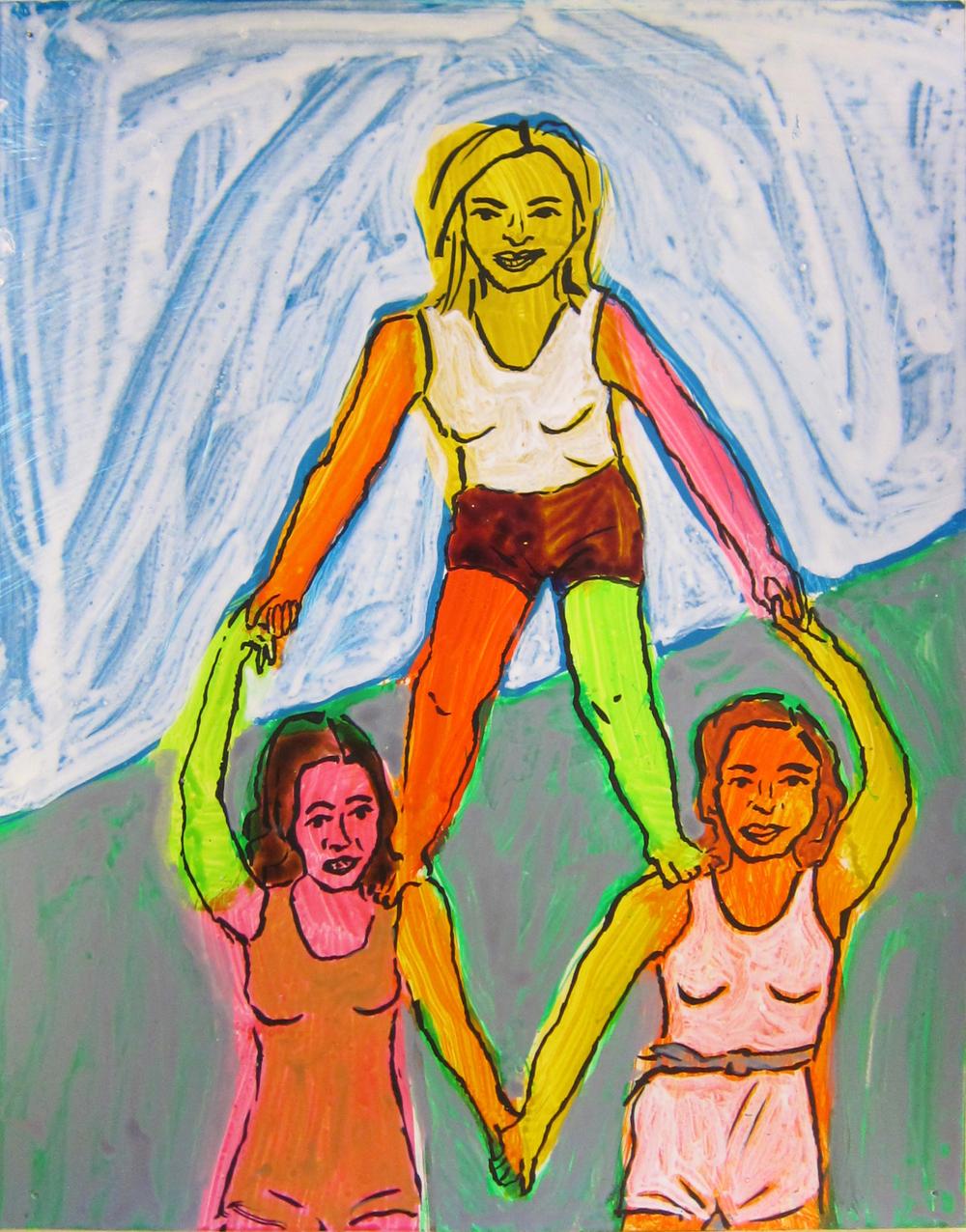 "Gymnastics, 2016  12""x9.5"" ink on paper"