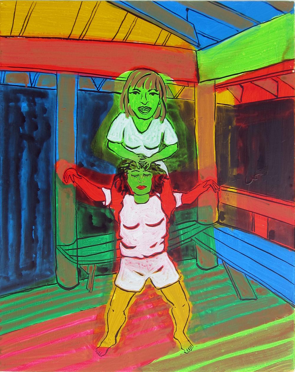 """Porch Gymnastics , 2016  30""""x24"""" ink on canvas"""