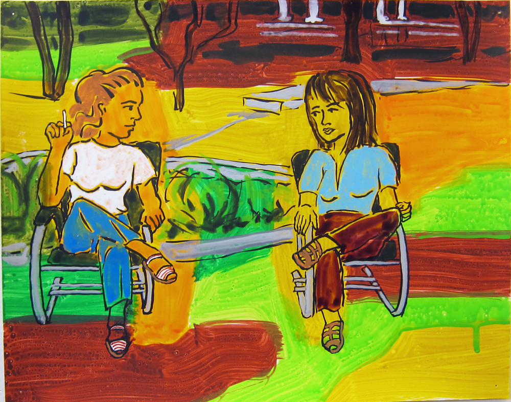 """Two Women in Lawn Chairs , 2016  9.5""""x12"""" ink on paper"""
