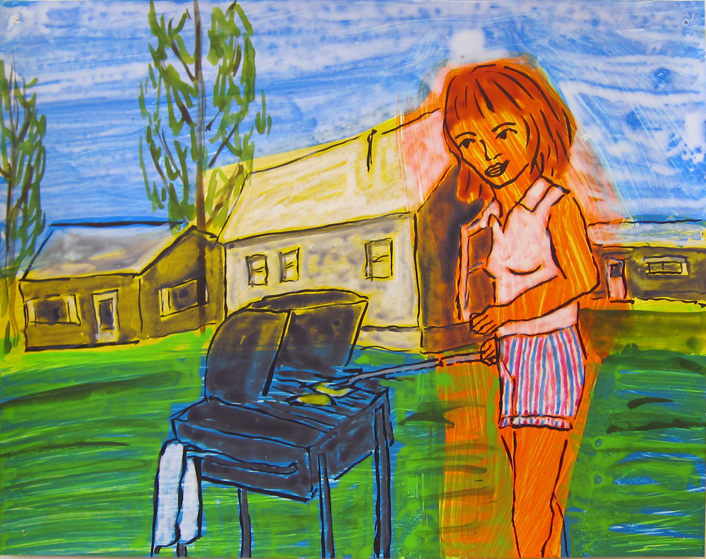 """Woman With Grill , 2016  9.5""""x12"""" ink on paper"""
