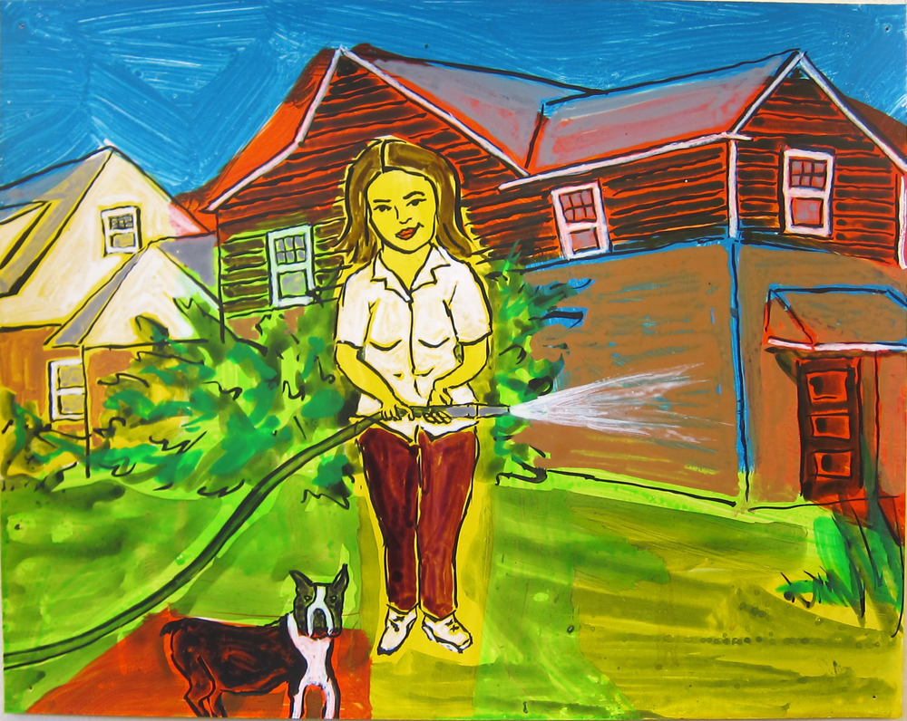 """Woman Watering Lawn , 2016  9.5""""x12"""" ink on paper"""
