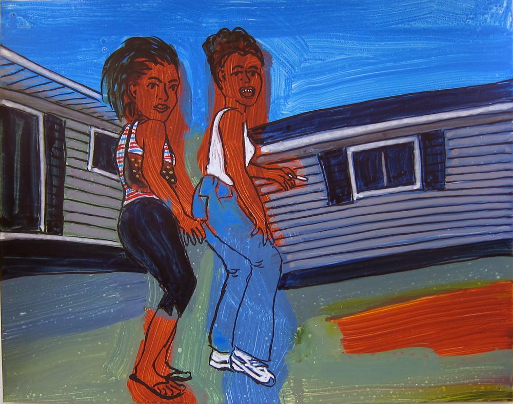 "Two Women in Yard , 2016  9.5""x12"" ink on paper"