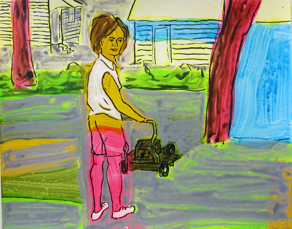 """Woman Mowing Lawn , 2016  9.5""""x12"""" ink on paper"""