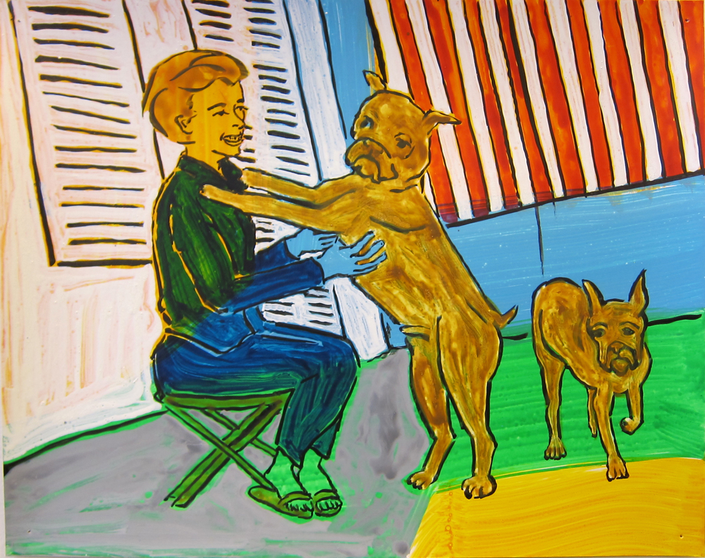 """Woman With Dogs , 2016  9.5""""x12"""" ink on paper"""