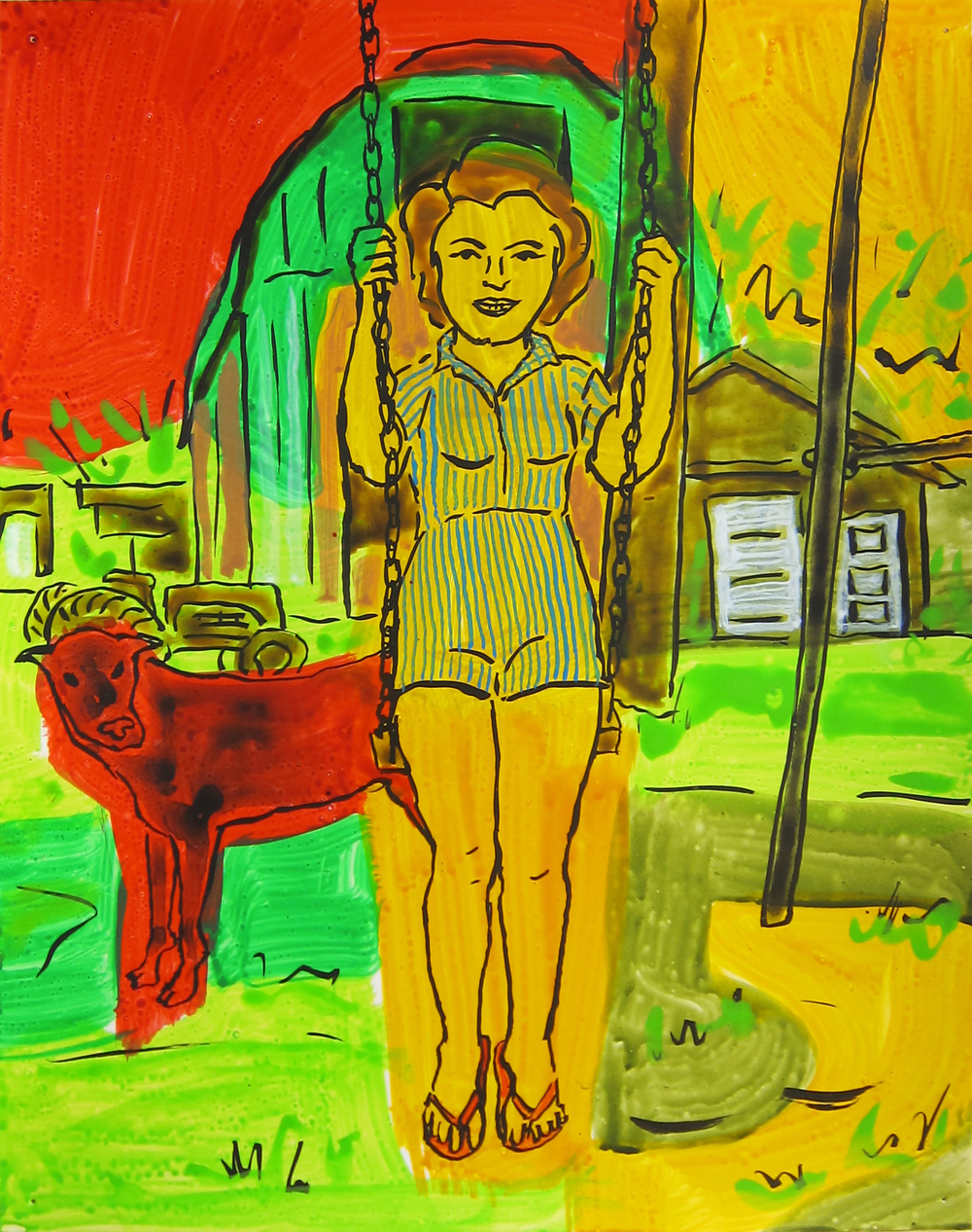 """Woman on Swing , 2016  12""""x9.5"""" ink on paper"""
