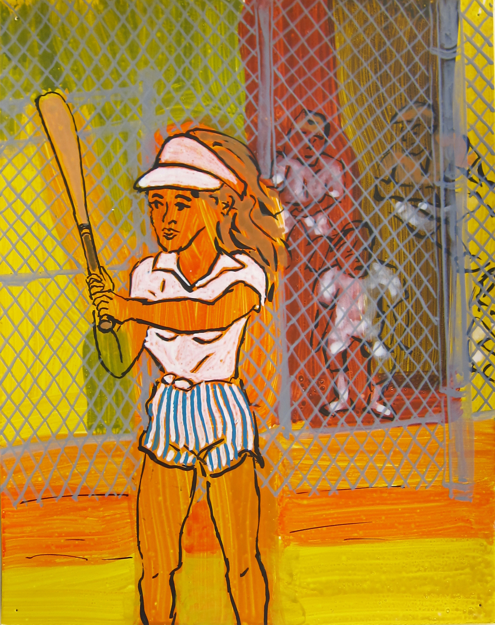 "Softball , 2016  12""x9.5"" ink on paper"