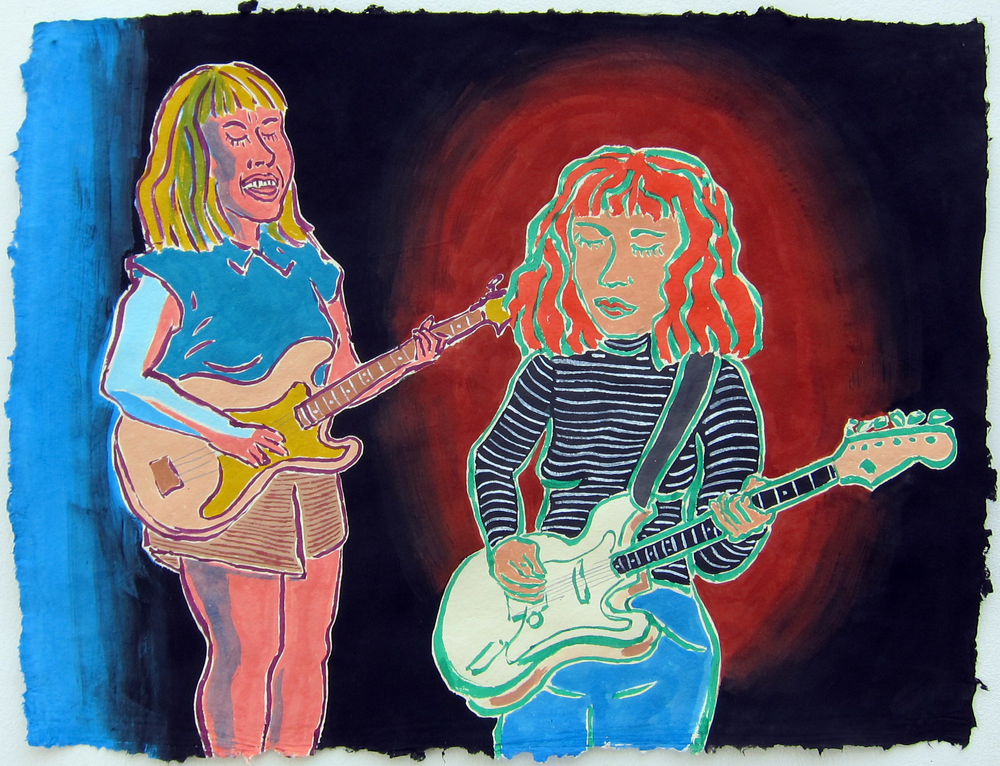 "Girlpool , 2016  19""x25"" flashe on paper"