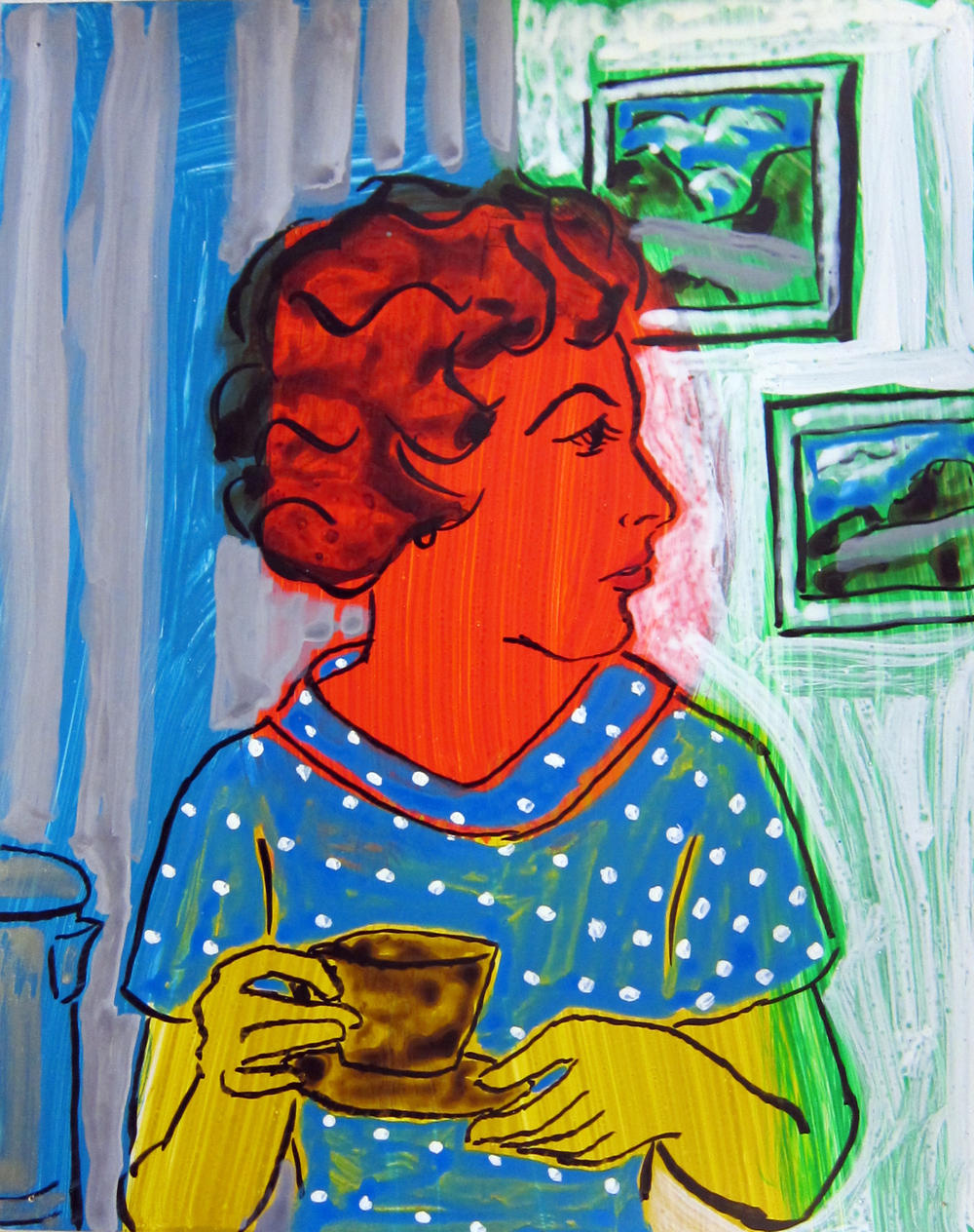 """Woman Drinking Tea , 2016  12""""x9.5"""" ink on paper"""
