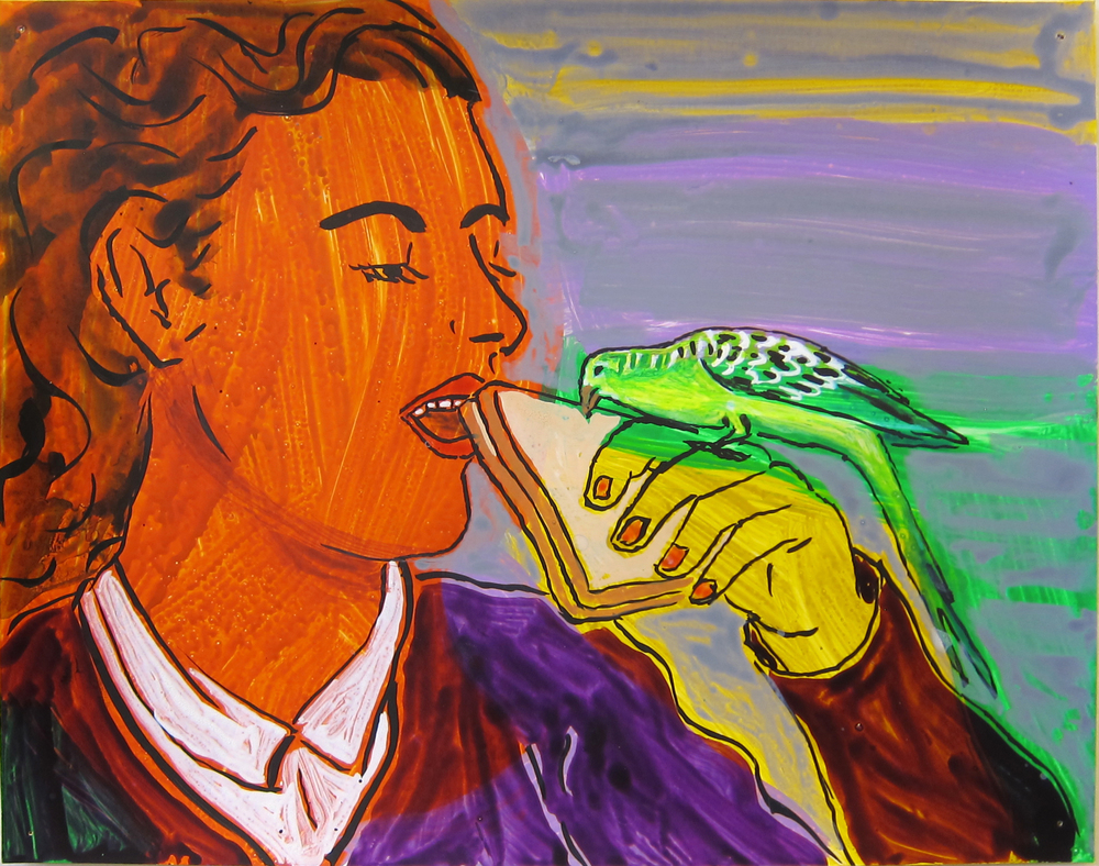 """Woman With Parakeet,  2016  9.5""""x12"""" ink on paper"""