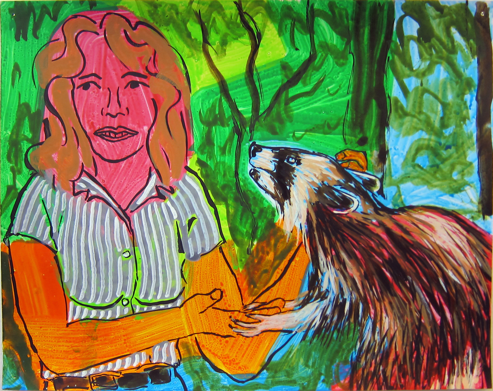 "Woman With Racoon , 2016  9.5""x12"" ink on paper"