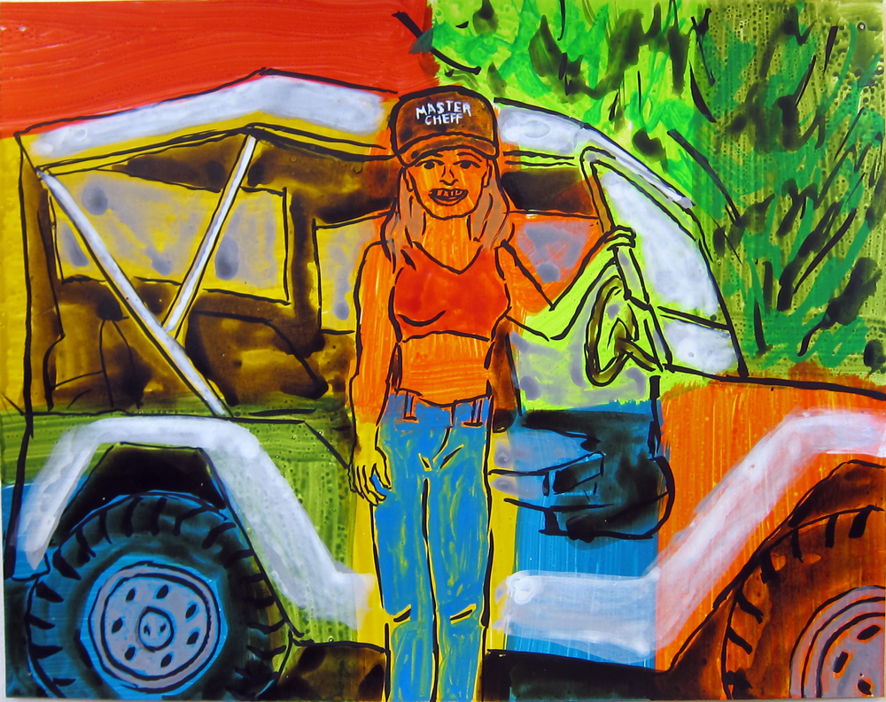"""Woman With Jeep , 2016  9.5""""x12"""" ink on paper"""