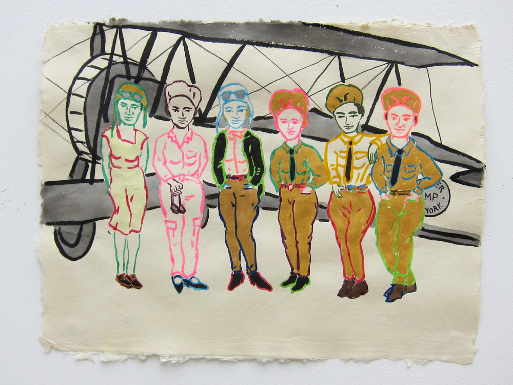 "Air Derby Pilots   19""x25"" ink &n flashe on paper  2015"