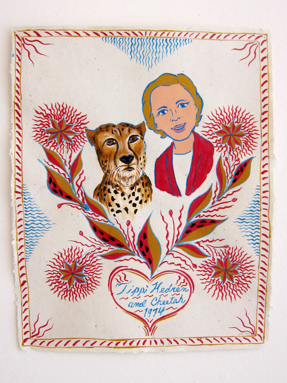 "Tippi Hedren & Cheetah, 1974   20""x16"" flashe on paper  2015"