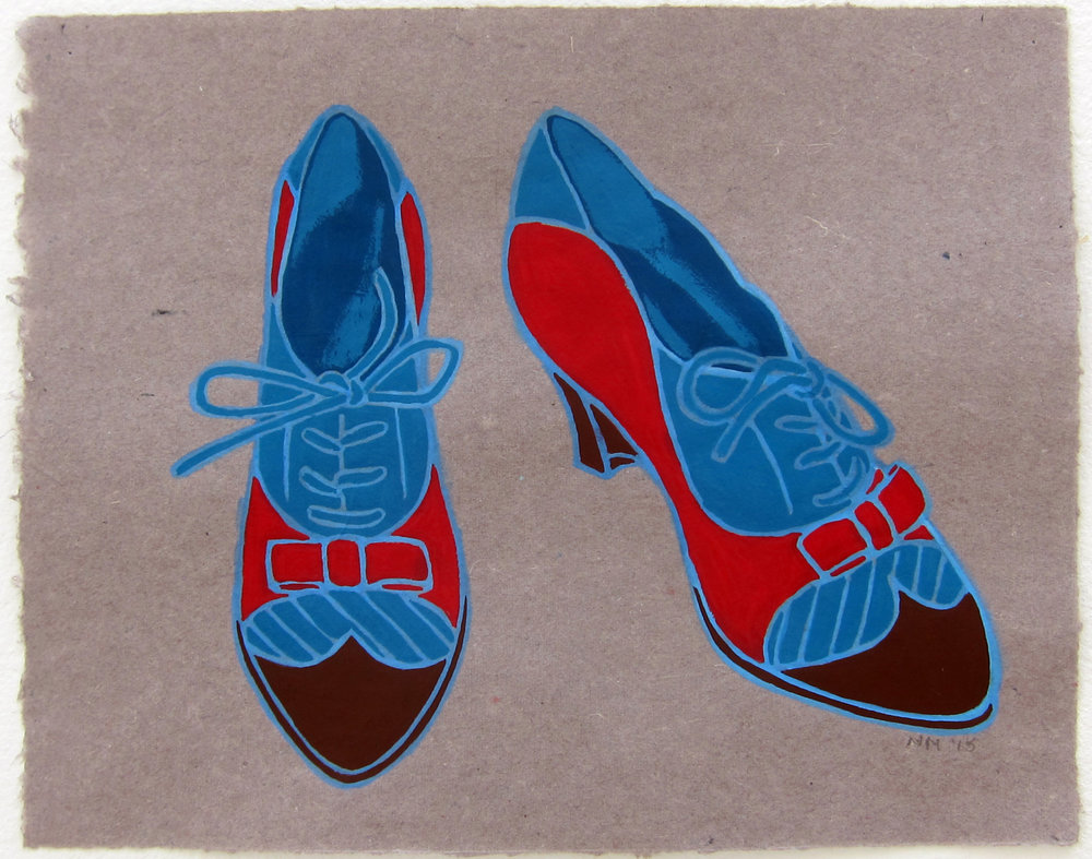 "Favorite Shoes   9.5""x12"" flashe on paper  2015"