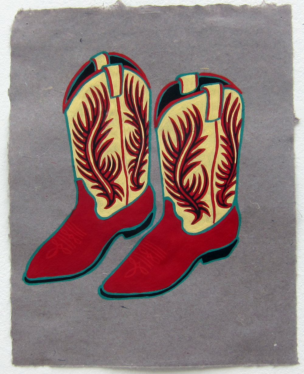 "Cowgirl Boots   12""x9.5"" flashe on paper  2015"