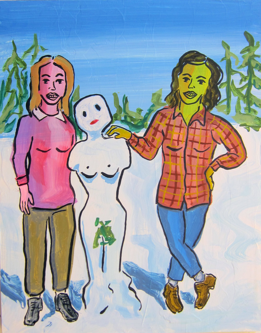"Snow Woman   20""x16""   ink on panel  2018"