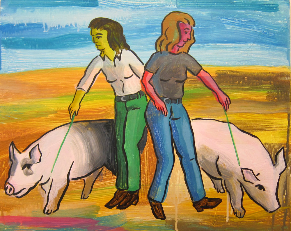 "Doppelganger with Pigs: The Dance   16""x20""  ink on panel  2018"