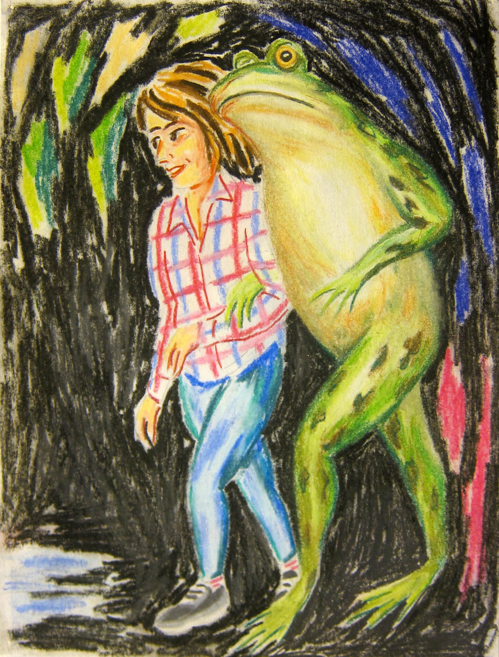 "Midnight Stroll   12""x9""  pastel on paper  2018"