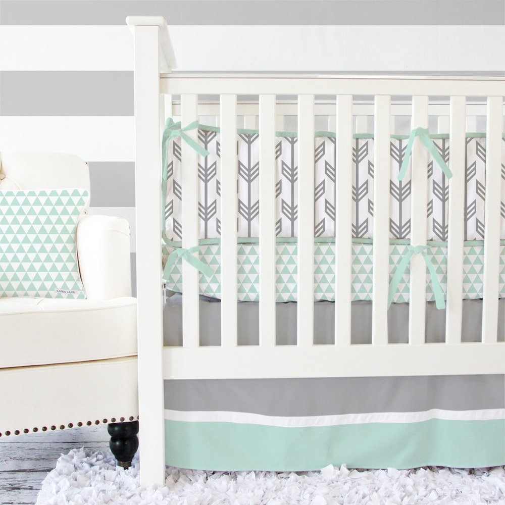 Shades of gray and mint green compliment any baby girl or boy!      Caden Lane