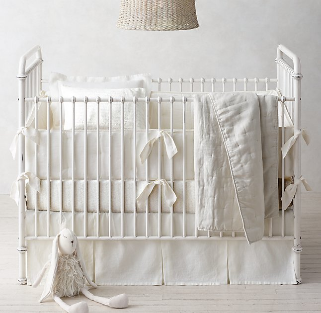 The different textures that are within the same color scheme make your baby's crib look stylish.      RH Baby & Child