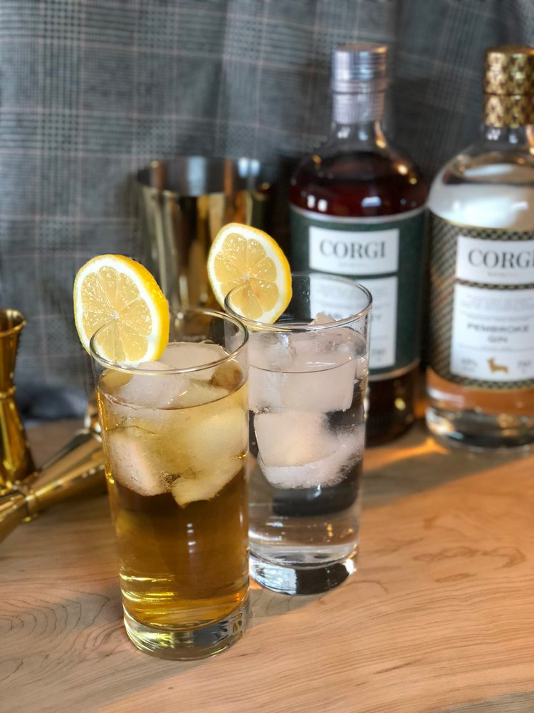 GIN & TONIC   2oz Corgi Spirits Pembroke Gin  1 - 200mL bottle Fever Tree tonic water  Lemon for garnish     Fill a Collins glass with ice, add gin and stir to chill thoroughly. Pour tonic water into glass while gently stirring to combine. Add garnish.