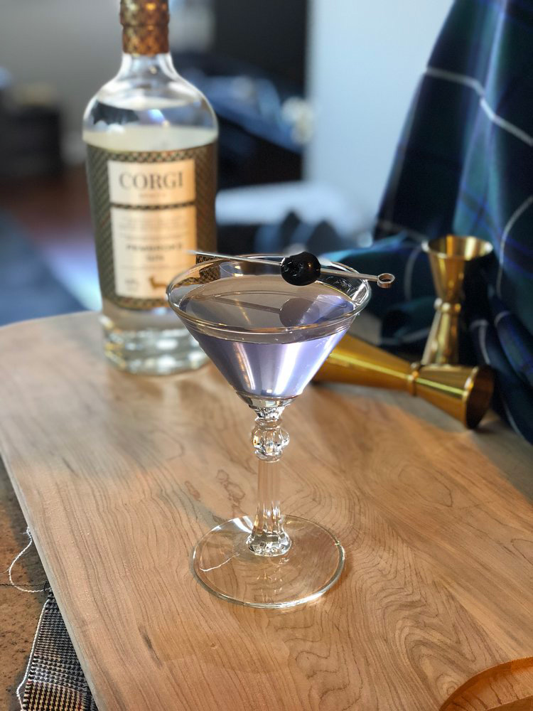 AVIATION   1.5oz Corgi Spirits Pembroke Gin  0.5oz fresh lemon juice  0.75oz Maraschino liqueur  0.25oz Creme de Violette  Cherry for garnish    Fill a shaker with ice, add all ingredients and shake vigorously. Strain into a chilled cocktail glass and garnish with a cherry.